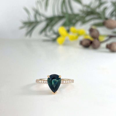 """HighWire Teardrop"" 1.41ct Australian Teal Sapphire Diamond Band Engagement Ring Ring JasonRee"