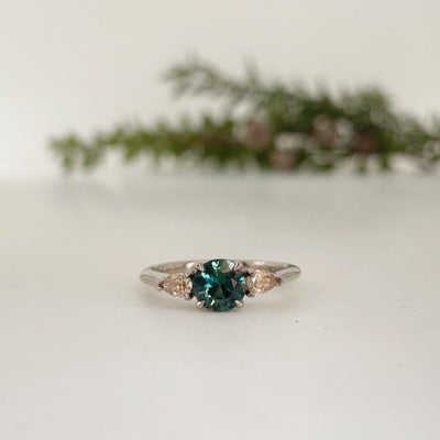 'Delta' Australian 0.82ct green Sapphire & Argyle pear-cut diamond ring Ring Jason Ree Design