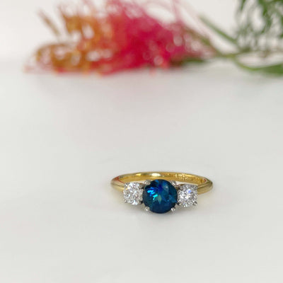 "''HighWire Trilogy"" 0.97ct Blue Australian Sapphire Engagement Ring Ring Jason Ree Design"