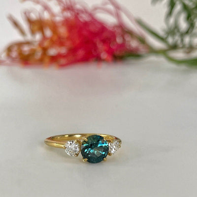 "''HighWire Trilogy"" 1.46ct Green Blue Australian Sapphire Engagement Ring Ring Jason Ree Design"