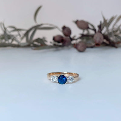 ''Trilogy'' Partial Bezel Sapphire & Diamond Ring Ring Jason Ree Design