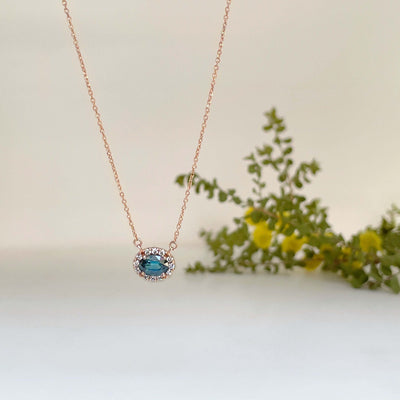 'Anja' Australian teal Sapphire rose gold necklace Pendant Jason Ree Design