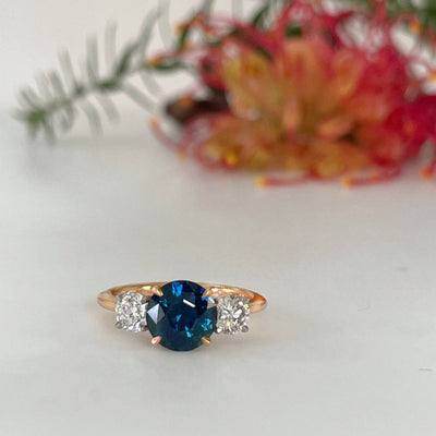 "''HighWire Trilogy"" 2.01ct Teal Australian Sapphire Engagement Ring Ring Jason Ree Design"
