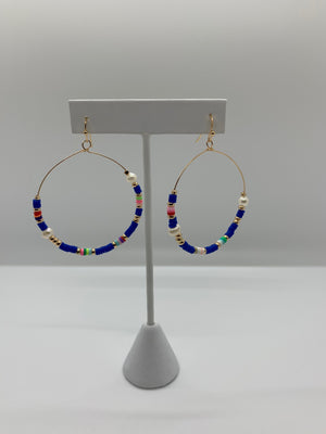 Pearl Charm Circle Earrings
