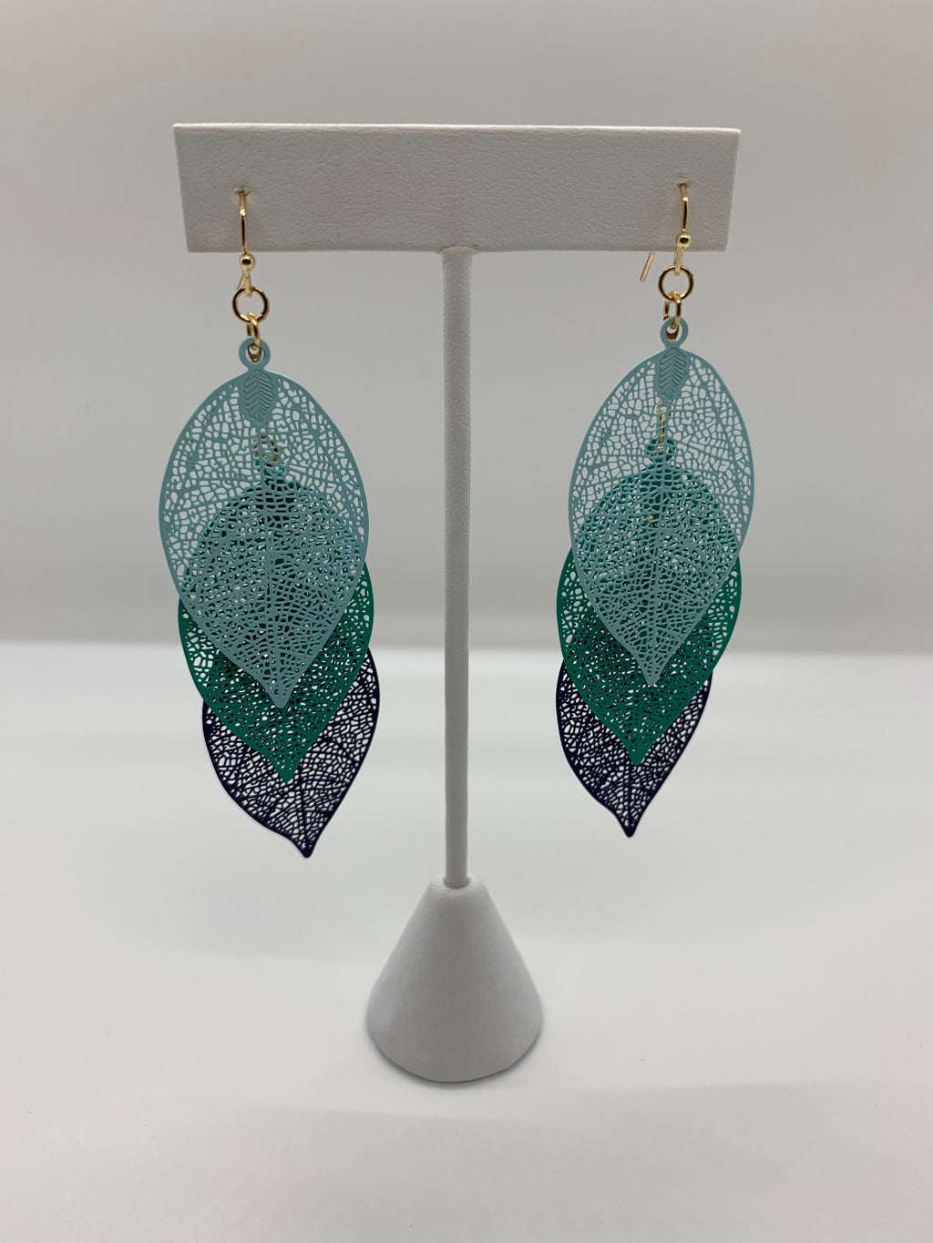 Color Multi Leaf Earrings Blue