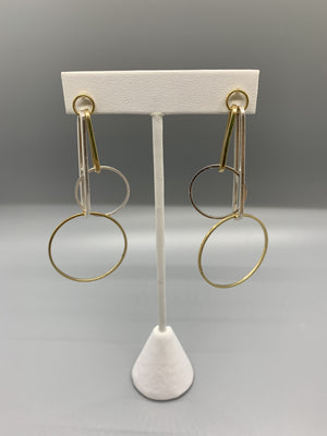 Two Tone Gold and Silver Hoop Earrings