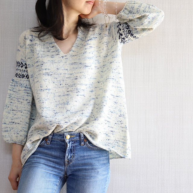 Nell Sweater Kit Feat Kokon Bleu Yarn