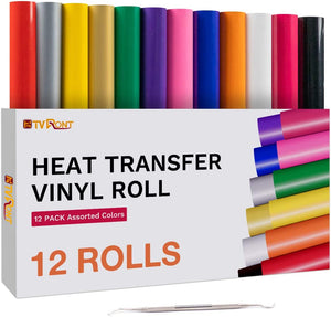 "Limited Offer / HTV Heat Transfer Vinyl Bundle 12 Pack - 12"" x 5ft ( Please read the details carefully )"