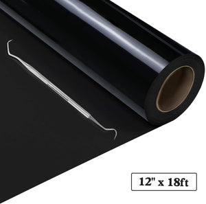 "Limited Offer / Heat Transfer Vinyl Black HTV Roll - 12"" x 18ft ( Please read the details carefully )"