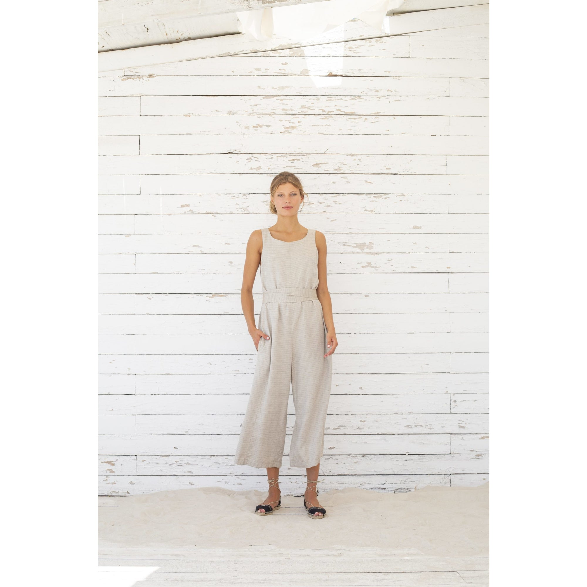 Jumpsuit Sandres - stone stripes