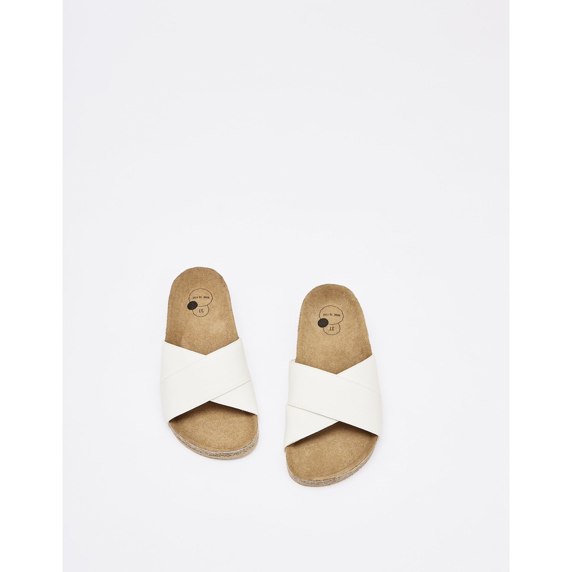 Sandale Cross Slide Clota - Cream Fiber