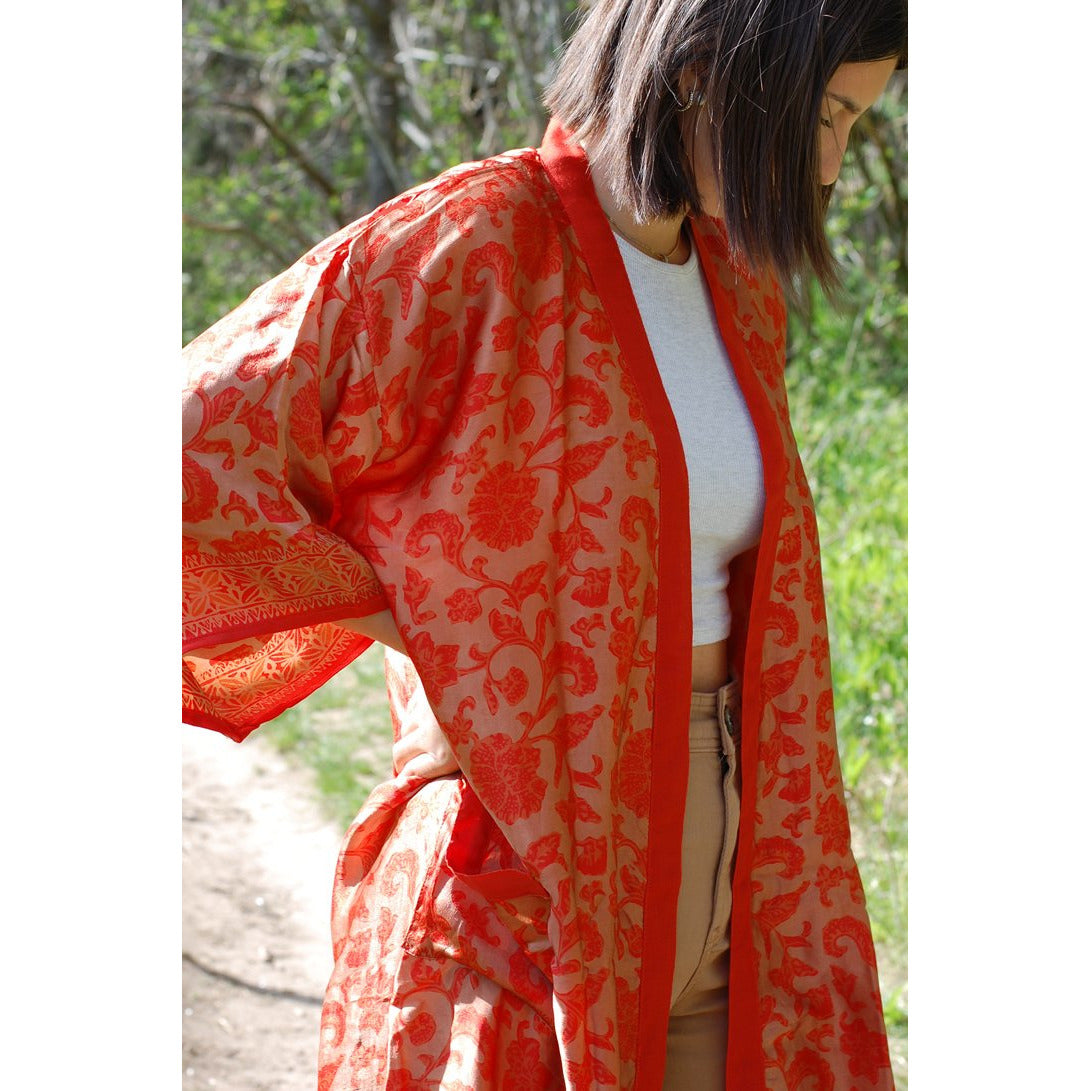 Seidenkimono - orange