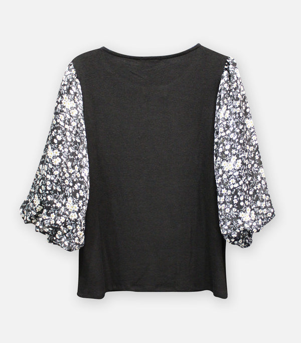 Cozy Mixed Media Black Floral Top