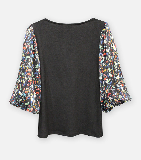 Cozy Mixed Media Multi Floral Top