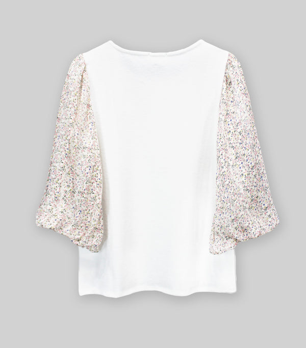 Cozy Mixed Media Ivory Floral Top