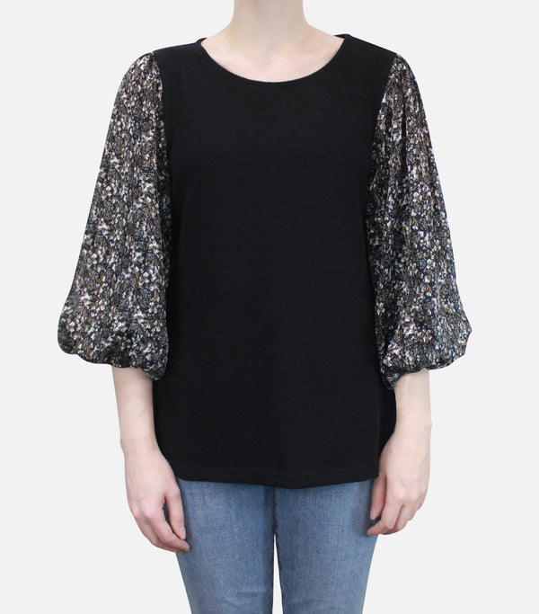 Cozy Mixed Media Floral Sleeve Top