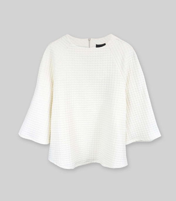 Ivory Texture 3/4 Sleeve Top