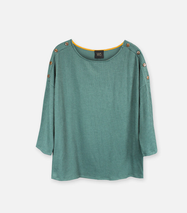 Forrest Green Button Sleeve Top