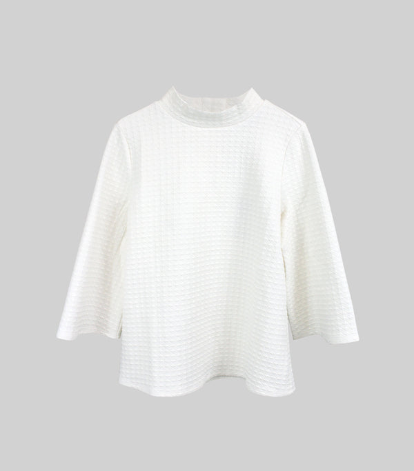 Ivory Texture Mock Button Neck 3/4 Sleeve Top