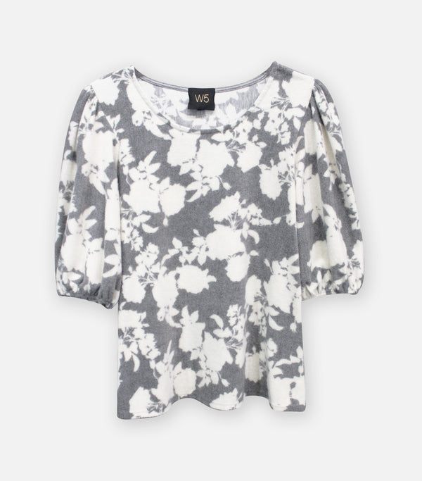 Cozy Knit Floral Puff Sleeve Top