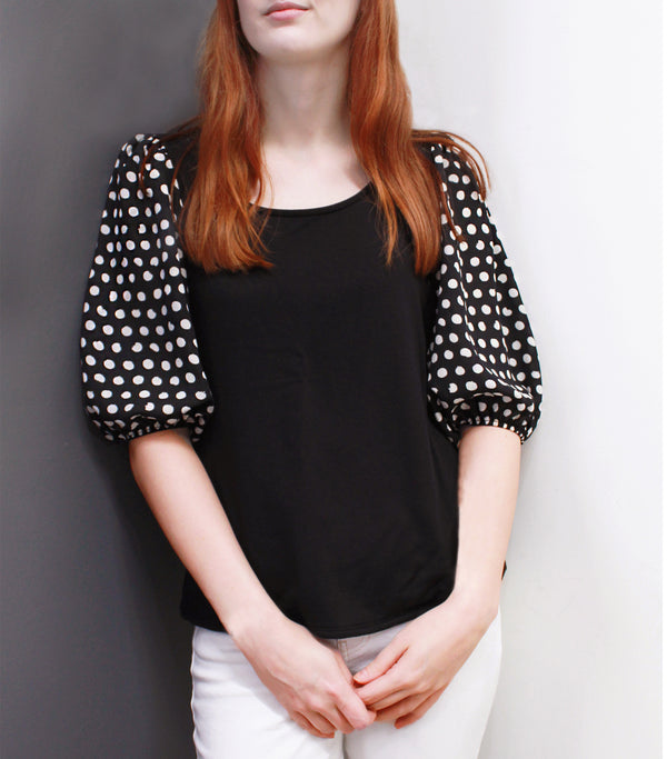 Cozy Mixed Media Dot Sleeve Top