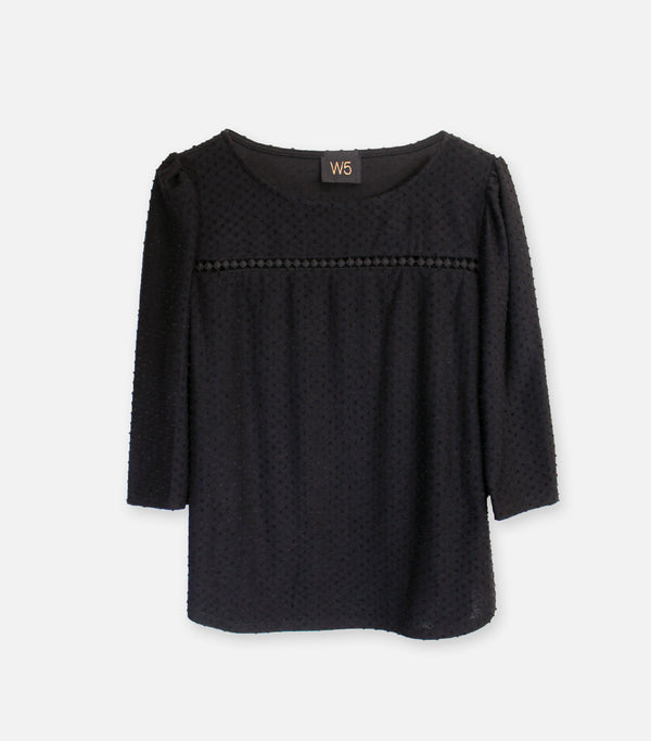 Black Swiss Dot Trim Puff Sleeve  Top