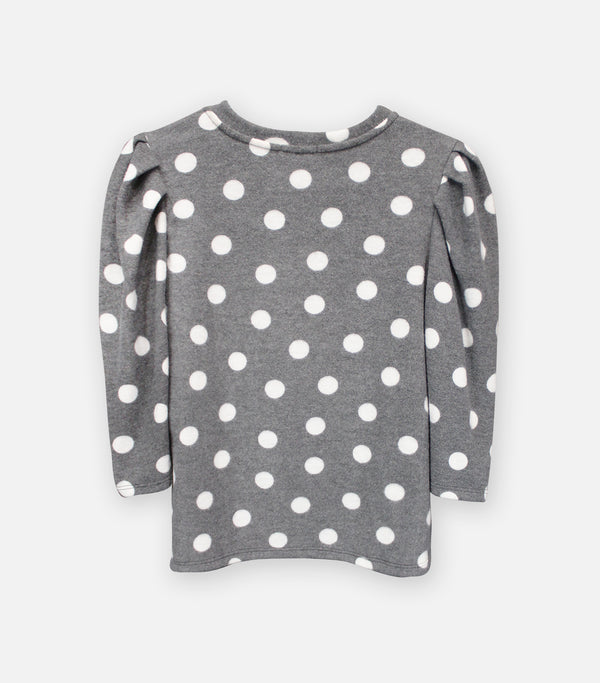 Charcoal Dot Cozy Knit Pleat Sleeve Top