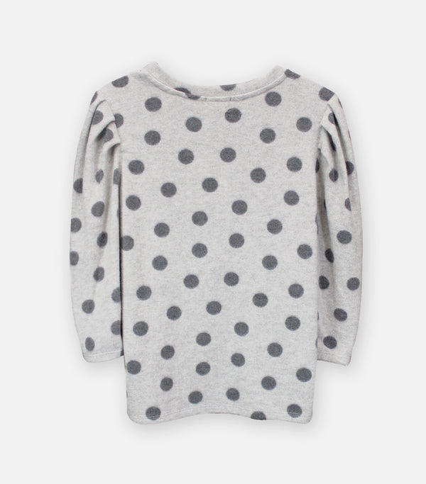 Heather Grey Dot Cozy Knit Pleat Sleeve Top