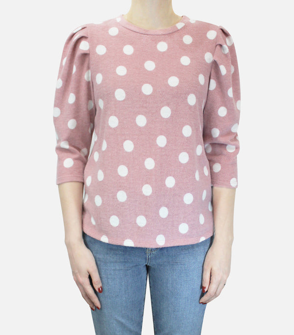 Blush Dot Cozy Knit Pleat Sleeve Top
