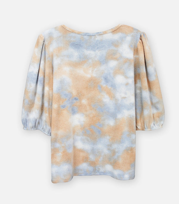 Cozy Knit Tie Dye Square Neck Puff Sleeve Top