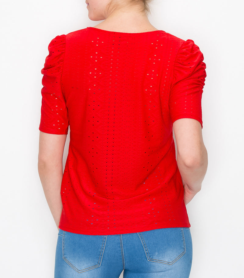 Red Eyelet Ruched Puff Sleeve Top