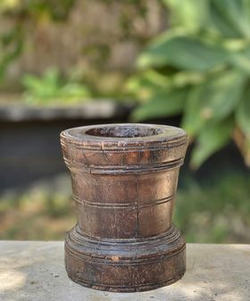 Vintage wooden Indian mortar