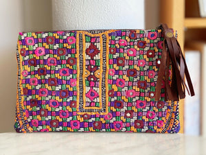 Vintage embroidered mirrorwork zip clutch