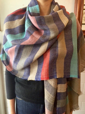 Wool striped wrap