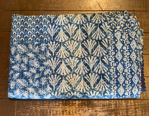 Indigo Patterned Kantha Quilt