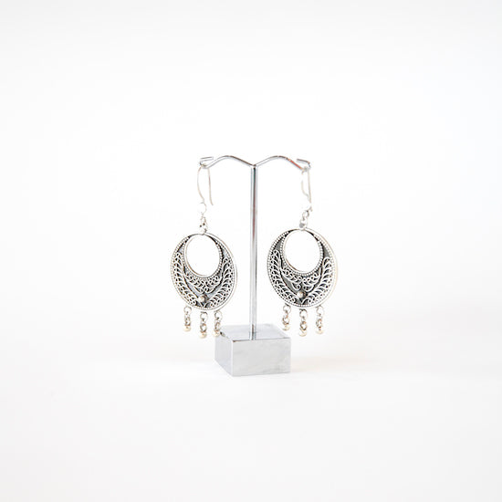 Sterling silver engraved earrings