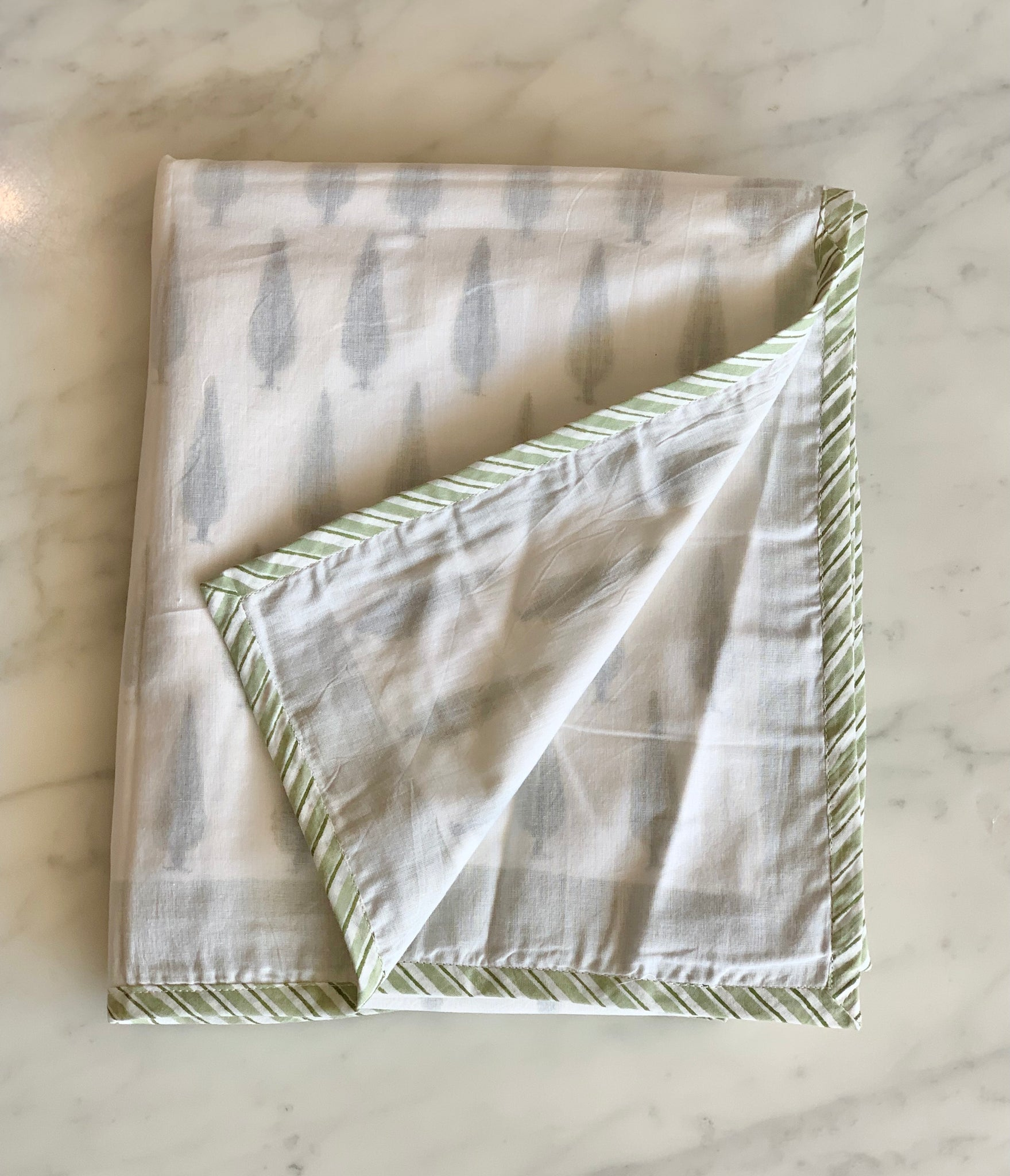 Block Printed Layered Cotton Keshtu Cot Sheet