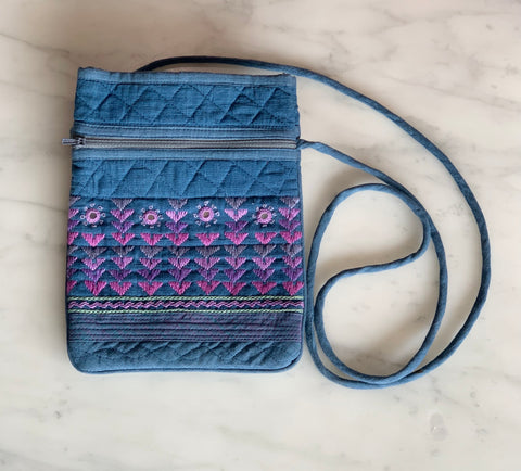 Blue Embroidered Shoulder Bag