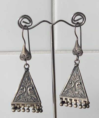 Vintage Sterling Silver Jhumka Pyramid Earrings