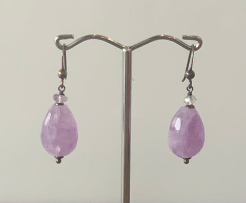 Amethyst Stirling Silver Drop Earrings