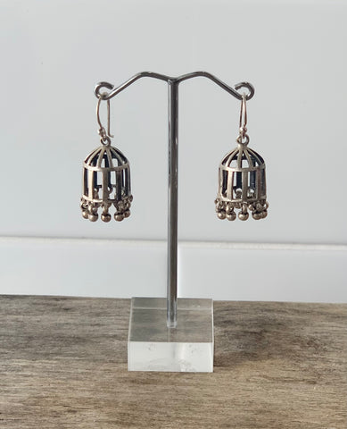 Sterling Silver Jhumka Birdcage Earrings