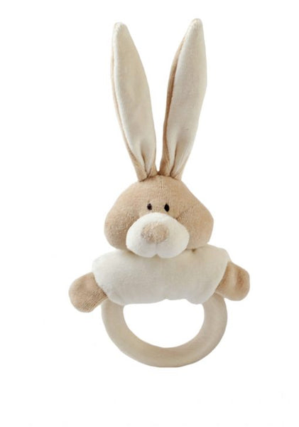 Wooly Organic Soft Bunny Rattle with Wooden Ring Teether Bunny