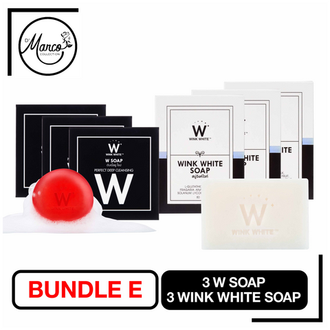 Bundle E, 3 Wink White Soap & 3 W Soap