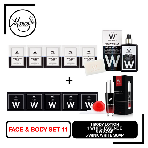 Set 11, 5 Wink White Soap, 5 W Soap, 1 Body Lotion, 1 White Essence
