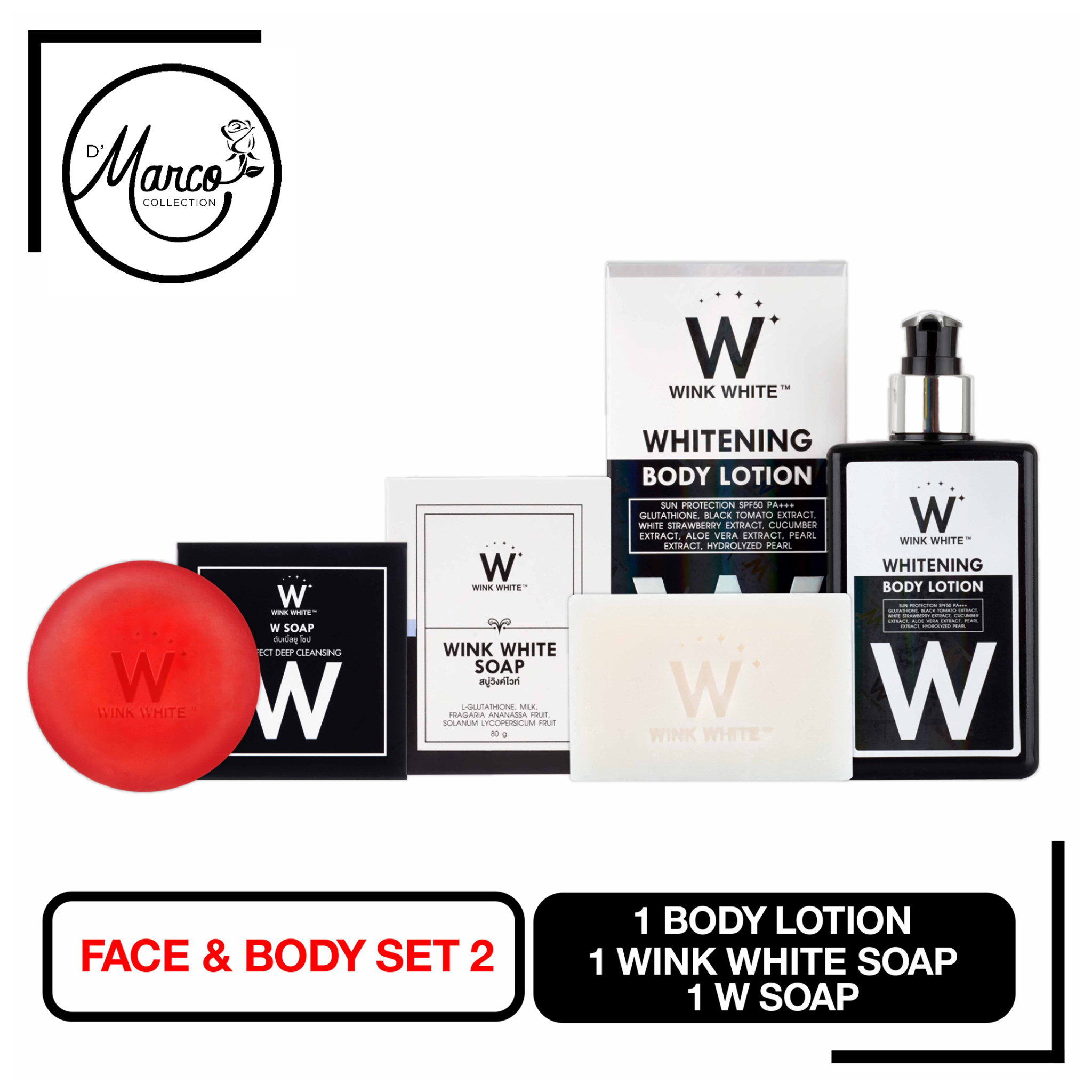 Set 2, 1 Wink White Soap, 1 W Soap, 1 Body Lotion