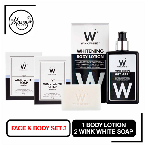 Set 3, 2 Wink White Soap, 1 Body Lotion