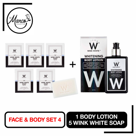 Set 4, 5 Wink White Soap, 1 Body Lotion