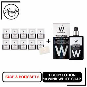 Set 5, 10 Wink White Soap, 1 Body Lotion