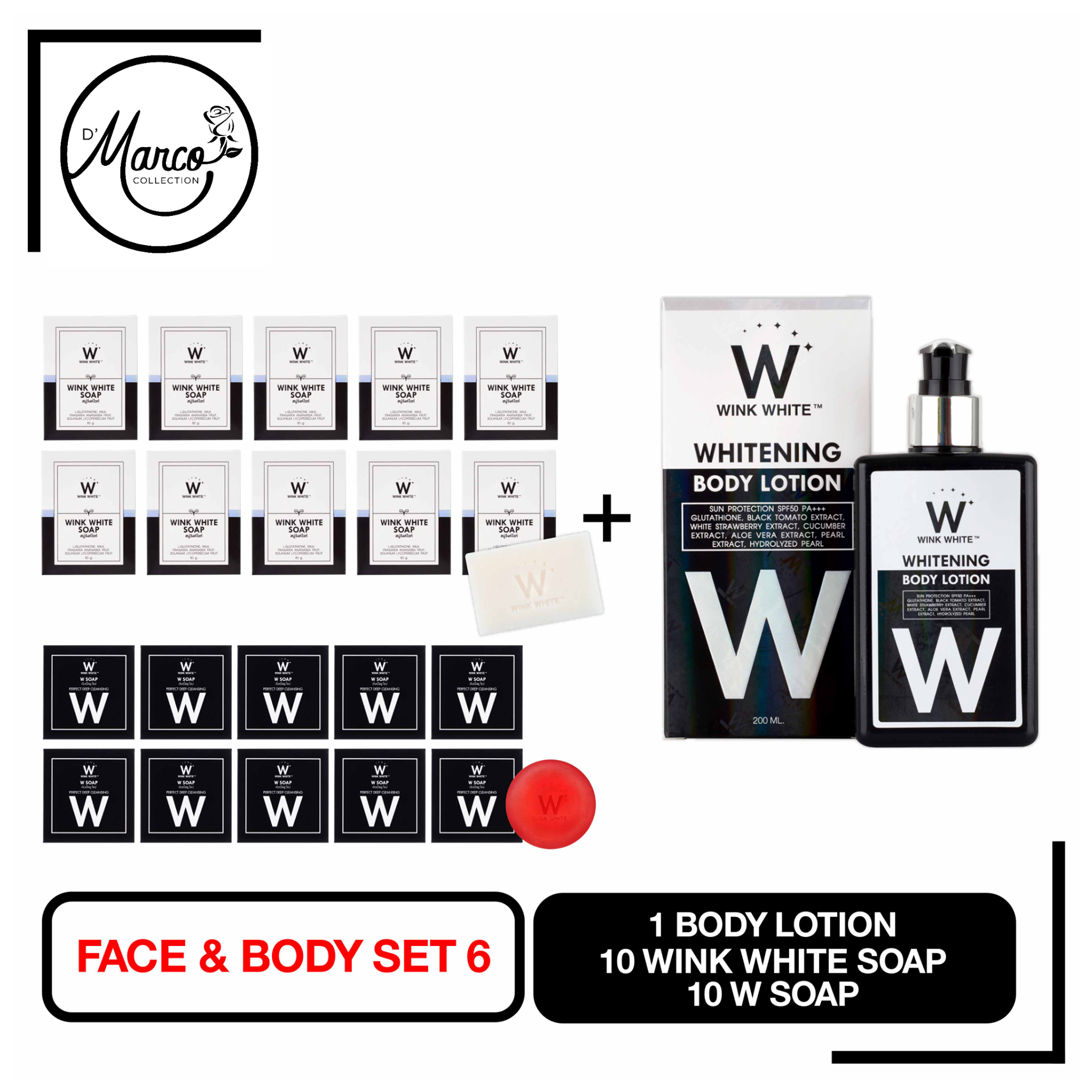 Set 6, 10 Wink White Soap, 10 W Soap, 1 Body Lotion