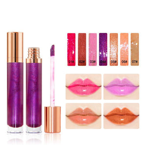7 Colors Gold Lid Round Tube  Lip Glosses